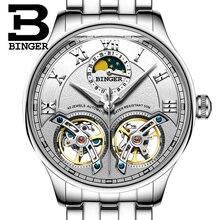 2017 NEW arrival men's watch luxury brand BINGER sapphire Water Resistant toubillon full steel Mechanical clock B-8606M-1