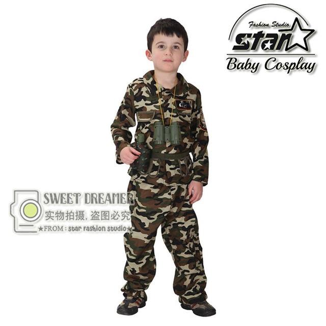 fc551deb14b Jongens Cool Fashion Camouflage Kleding Set Kid Militaire Uniform Kleding  kinderen Leger Pak Prestaties Podium Kostuum