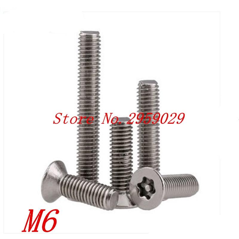 20pcs DIN7991 M6*10/12/16/20/25/30/35/40/45/50  m6 Torx Tamper Proof Security Screw m5 A2 Stainless Steel Anti-theft Screws щебень фракция 20 40 мм 50 кг