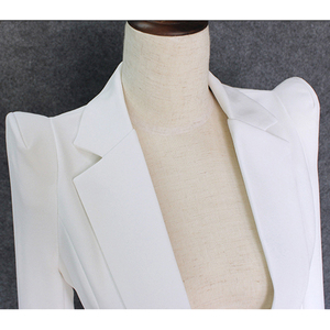 Image 3 - TOP QUALITY 2020 New Stylish Designer Blazer Womens Shrug Shoulder Single Button White Blazer Jacket