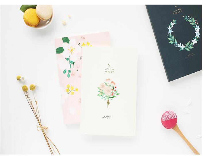 Floral design cute Korean stationery 6 months study planner book 14.8*21cm 176P