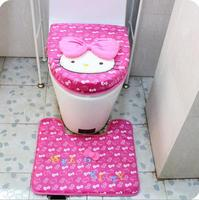 3 In 1 Set Hot Pink Rose Bowknot Hello Kitty Soft Plush Print Toilet Cover Set,Toilet Lid Cover+Toilet Seat Cover+Bathroom Mat