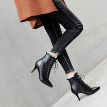 YMECHIC Fashion Thin High Heels Lolita Shoes Lace Ruffles Cross Tied White  Black Sexy Sweet Girls Ankle Boots Stiletto Plus Size 91eb782118f9