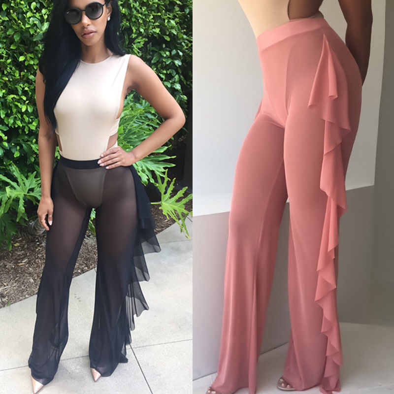 HOT Women Ruffle   Pant   Sexy Ladies Palazzo Mesh Flared   Wide     Leg     Pants   Casual Woman Leggings High Waist Baggy Long Trousers