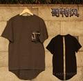 men Gothic fashion streetwear male lengthen 100% cotton short sleeve Tee tops t shirt hiphop brief plus size 5XL 4XL european