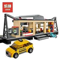 City Creator Series 02015 LEPIN Train Station With Rail Track Taxi Building Blocks Bricks Model Set