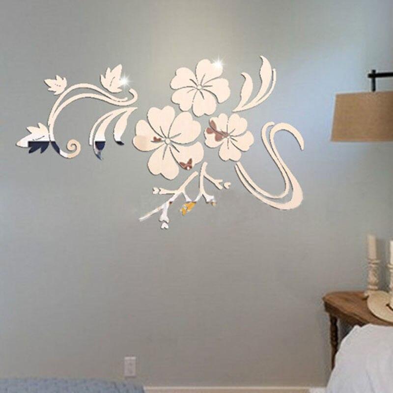 3D flores Vine patrón espejo acrílico pegatinas de pared decoración para el hogar DIY oro plata decoración de la etiqueta engomada de la pared de la Sala T35