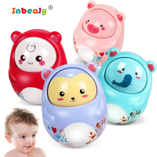 4 Color Cute Baby Rattles Mobiles Toys Nodding Moving Eyes Baby Kids Rattles Gifts Poly Tumbler Toy With Bell Toys For Children