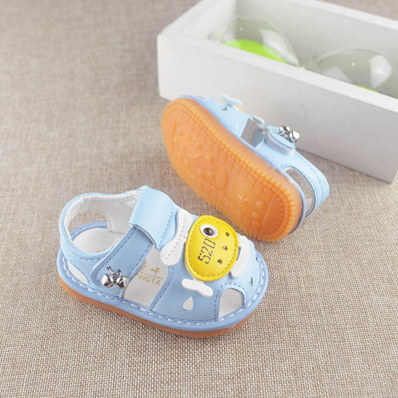 Baby Casual Sandals Boys Girls Cartoon Sandals With Sound Soft-Soled Baby Shoes Toddler Soft Sole Walking Shoes