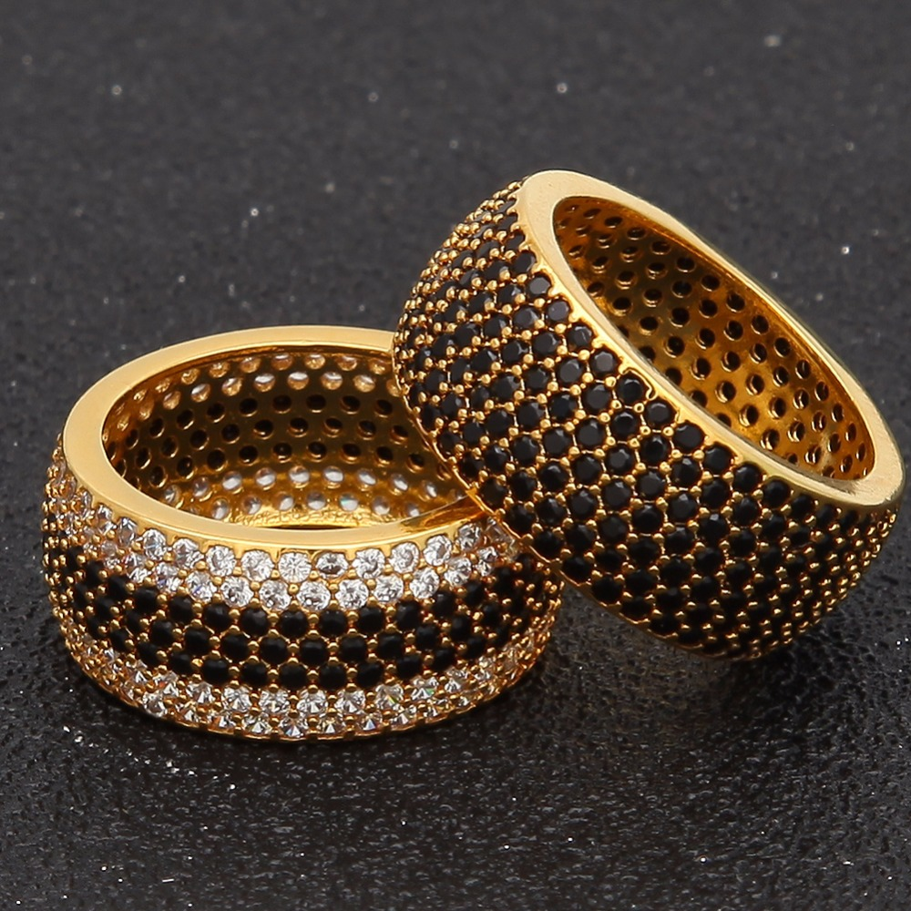 UWIN Hiphop Full Bling CZ Ring Iced Out Cubic Zircon Luxury Fashion Jewelry Gift