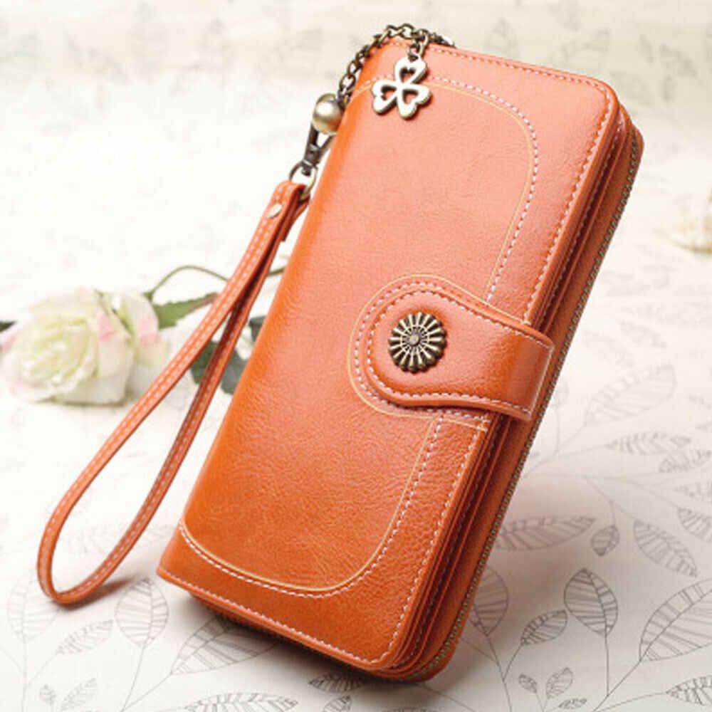Wanita Panjang Perjalanan Zip Dompet Kartu Ponsel Pemegang Case Dompet