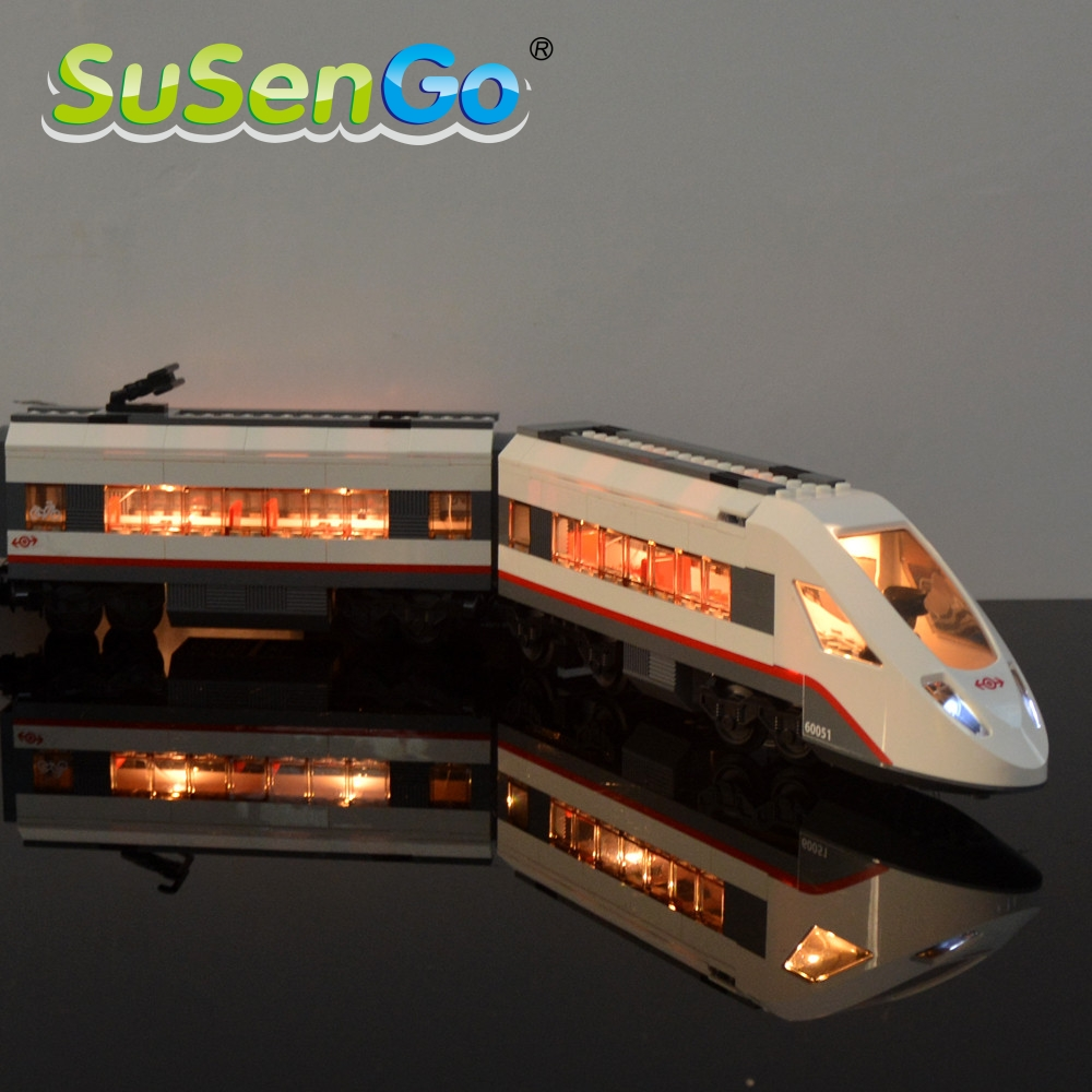SuSenGo Decorate Light Set For Model Trains High-speed Passenger Led Light Compatible With 60051 02010 Light Set 3d dynamic models of a railway track for high speed trains