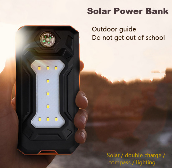 Solar Power Bank Dual USB Power Bank 20000 mAh Waterproof PowerBank Bateria External Portable Solar Panel with LED Compass