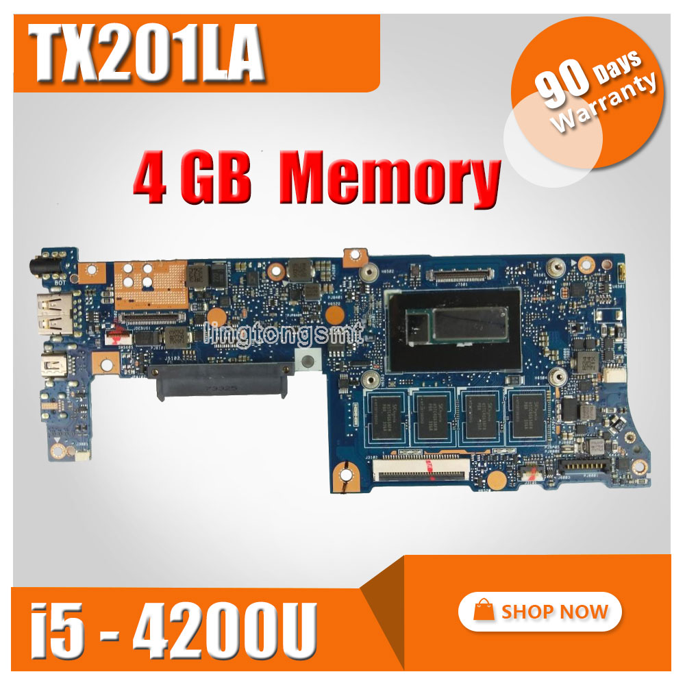 TX201LA For ASUS Laptop Motherboard TX201LA TX201 TX201L System Board i5-4200U Main Board Mainboard Card Logic Board 100% Tested