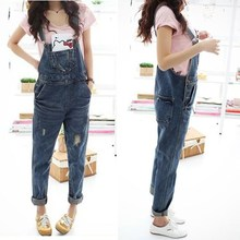 2018 Autumn Women Denim Jumpsuit Casual Jeans Rompers Female Loose Hole Denim Overall Playsuit With Pocket
