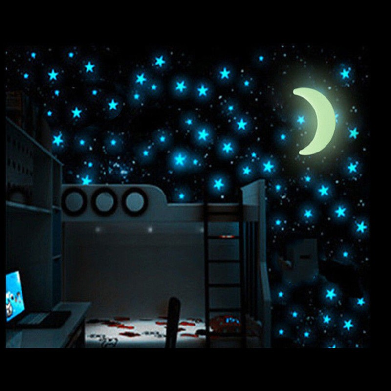 Creative 1 Set Cartoon Moon Star Nursery Baby Room Home Decor Glow In Dark Luminouswallpaper Wall Stickers For Kids Rooms Decal Warm And Windproof Painting Supplies & Wall Treatments