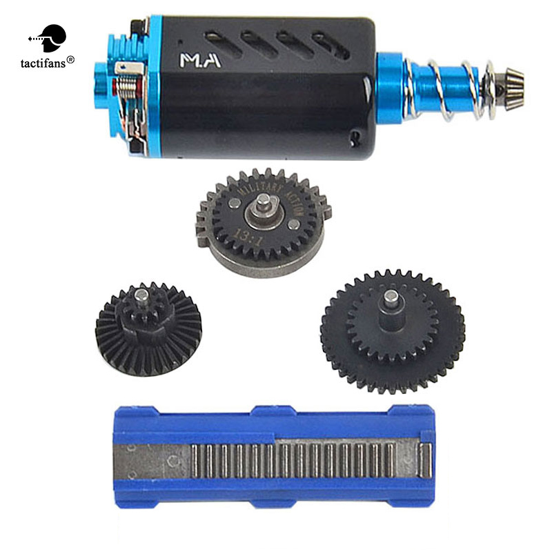 Tactifans High Torque AEG Motor Long Axis&High Speed Gears 13:1&14 Teeth Piston conversion kit for AEG For M4 AK Ver.2/3 Airsoft sinairsoft electronic key aeg merf 3 2 for aeg guns battery protection fuse lipo lifepo4 liion nicd m4 ak47