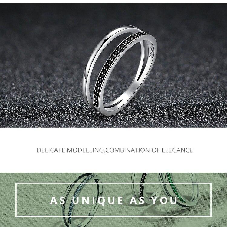 HTB13mJ ubuWBuNjSszgq6z8jVXaV BAMOER Genuine 925 Sterling Silver Double Circle Black Clear CZ Stackable Finger Ring for Women Fine Silver Jewelry Gift SCR082