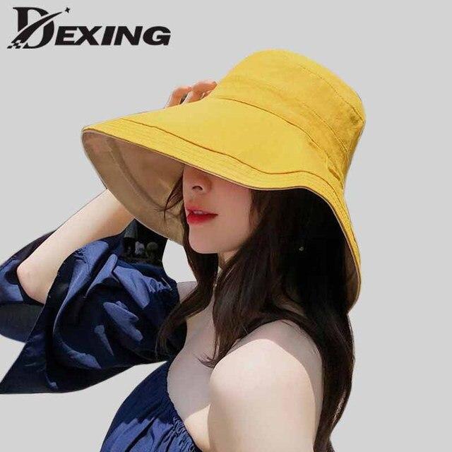 2019  cotton linen  sun hat for women summer foldable panama two side wide Brim beach hat ladies Girls outdoor korean sea cap