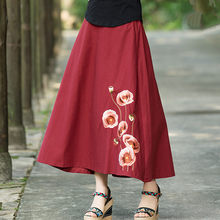 Chinese Style Cotton Linen Long Skirts Womens Elastic Waist Embroidery A  Line Skirt Vintage Casual Loose d1b0b3a6072a