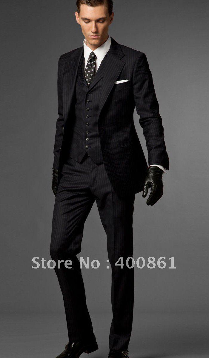 a530489ab8e Black Shiny Stripe Slim Fits Groom Tuxedos Man Prom Suit Wedding ...