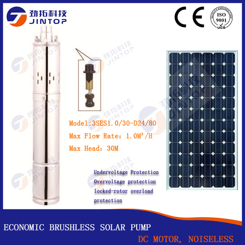 (MODEL 3SES1.0/30-D24/80) JINTOP SOLAR SUBMERSIBLE PUMP Free Shipping flow 1.0T/H DC24v 80W agriculture irrigation water pump free shipping ss316 dc submersible solar pump solar water pump 1 cbm hr 30m model 3sps1 0 30