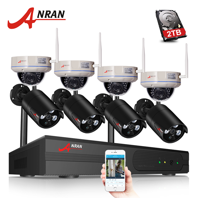 ANRAN H.265 8CH Wi-Fi NVR Беспроводной CCTV Системы сети видео Регистраторы 1080 P HD безопасности Wi-Fi IP Камера видеонаблюдения комплект