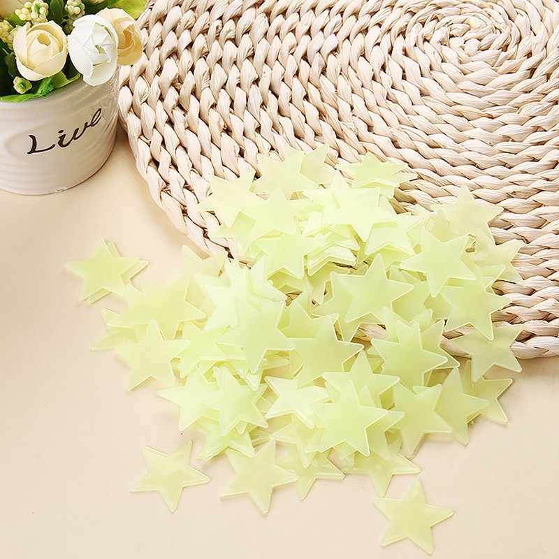 NEW 100 ps 3D Stars Fluorescent Wall Stickers Wallpaper Decorative Festive For Kids Baby Room Bedroom Ceiling Kitchen Decoration