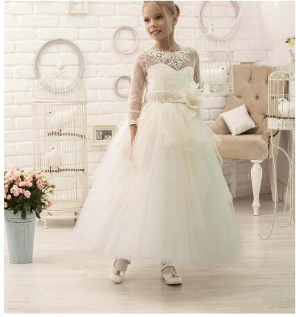 Здесь можно купить  First Communion Dress for Young Girls Ivory First Communion girls dress with elegant 3/4 length sleeves   Детские товары