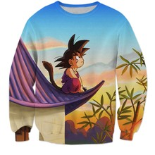 Classic Anime Dragon Ball Z Sweatshirt Long Sleeve Outerwear Men Hipster 3D Sweatshirt Super Saiyan Goku Crewneck Pullovers