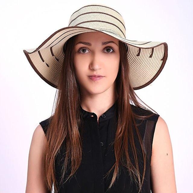 Nuevo 2016 de paja sombrero floppy, mujeres borde ancho grande sombrero de la playa, plegable del sombrero del sol con la cinta