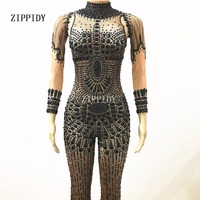 Sexy Sparkly Black Jumpsuit Big Stones Performance Bling Nude Bodysuit Stage Wear Nightclub Shining Costume Dance Wear