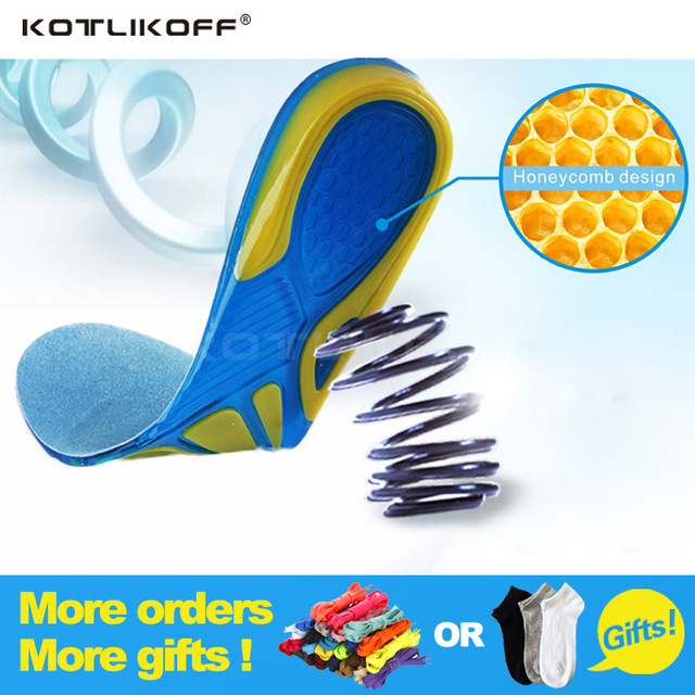 Silicon Gel Insoles Foot Care for Plantar Fasciitis Heel Spur Running Sport Insoles Shock Absorption Pads arch orthopedic insole elino massage sports insoles for shoes plantar fasciitis sole flat foot arch support running sport insole feet care cushion pads