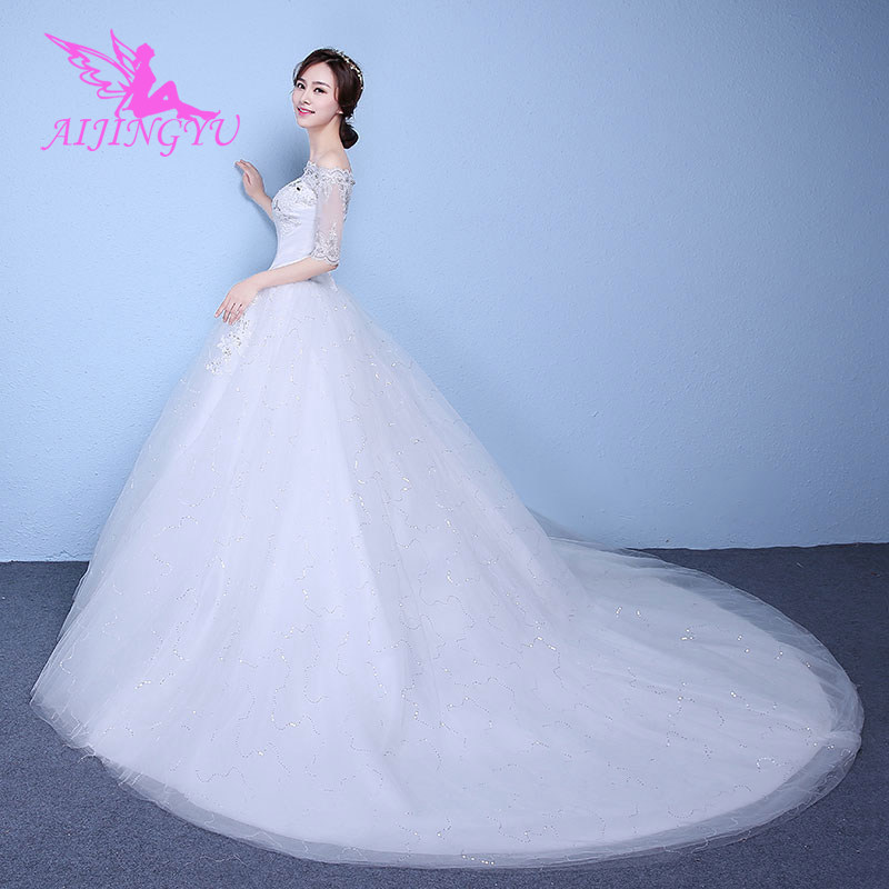 AIJINGYU 2018 Ivory Free Shipping New Hot Selling Cheap Ball Gown Lace Up Back Formal Bride Dresses Wedding Dress WK850