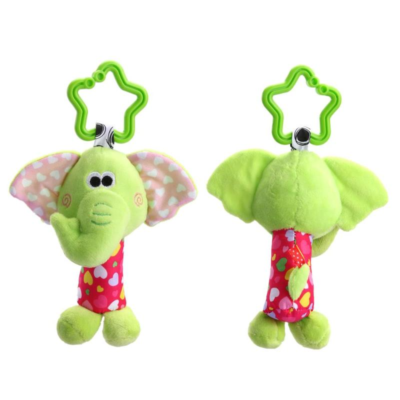 Baby Handbell Cute Animal Plush Toy Kids Educational Rattle Doll Baby Stroller Accessories Toy