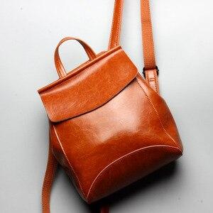 98e06c0174a 100% Cowhide Genuine Leather Women Backpack For Girls Mochila Luxury Brand  Designer Women s Travel Bags