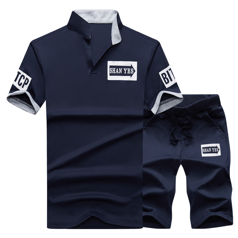 2 Pieces T-shirt Shorts Tracksuit Sport suits Set Men 2018 Brand Fitness Suits Summer 2PC Top Short Set Mens Stand Collar Fashion 2