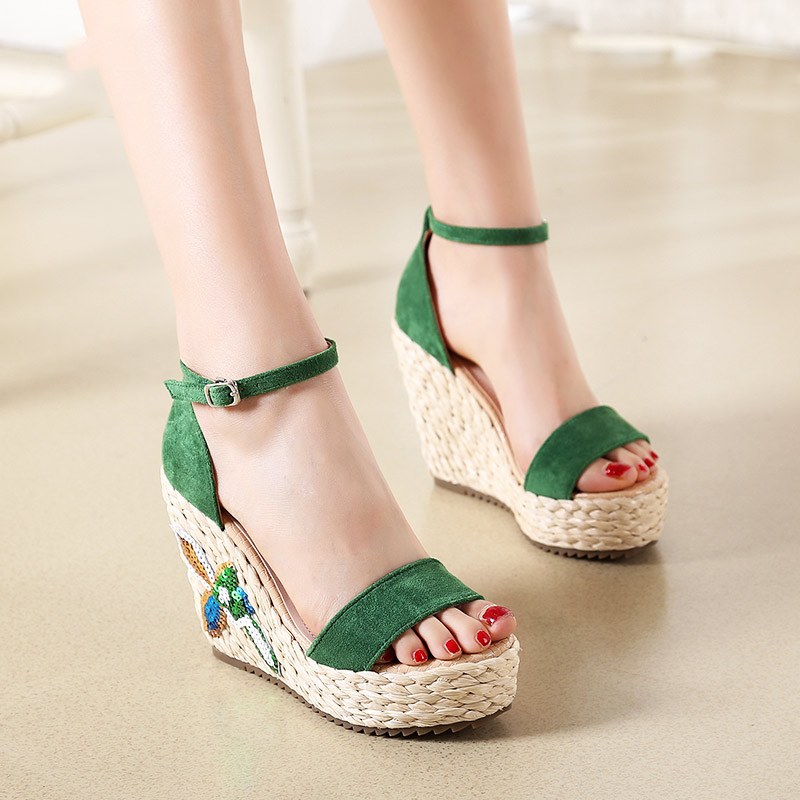 US $45.73 25% OFF|2018 Summer New Ladies High Heels Shoes Online Black Platform Wedges Sandals Green Yellow Fashion Small Size Female Shoe in High