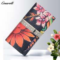 Cossroll Vintage Designer Wallets Smart Phone Clutch Bags Genuine Leather Purse Famous Brand Women Wallet Luxury