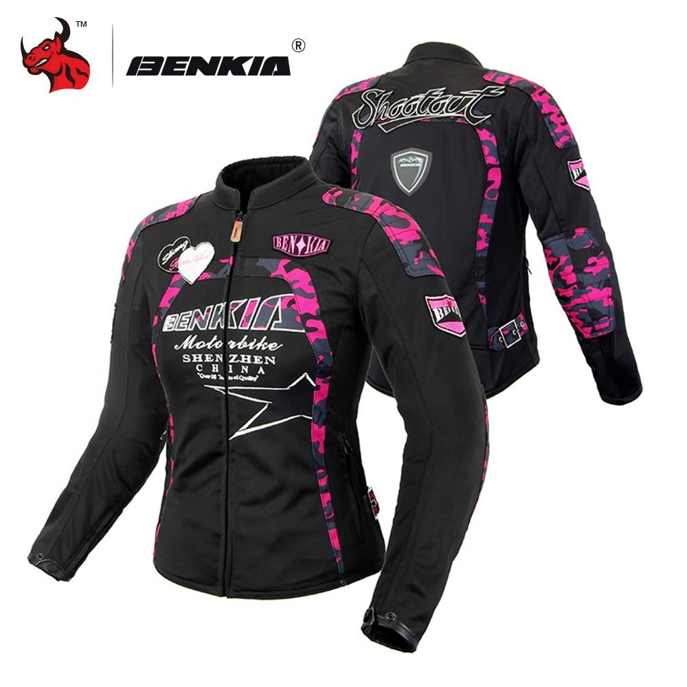 BENKIA Motorcycle Jacket Women Breathable Mesh Racing Riding Moto Jacket Vintage Retro Casual Motorbike Jacket Motocross Jacket