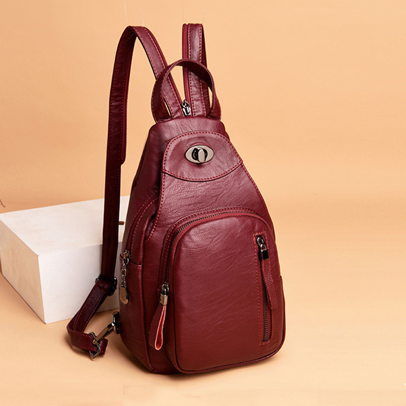 Leather Female Backpack Women Travel Bags Waterproof School Bags For Teenage Girls Lady Vintage Bagpack Women's Sports Backpacks