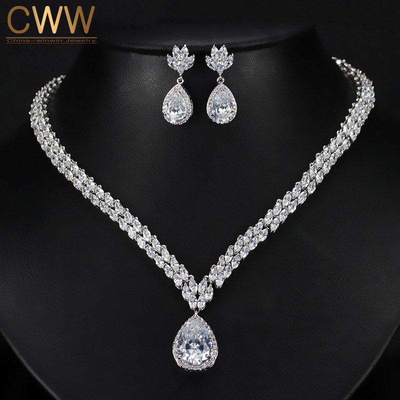 CWWZircons Brand Brilliant AAA+ Cubic Zirconia Big Water Drop Party Earring and Necklace Jewelry Set For Women T241