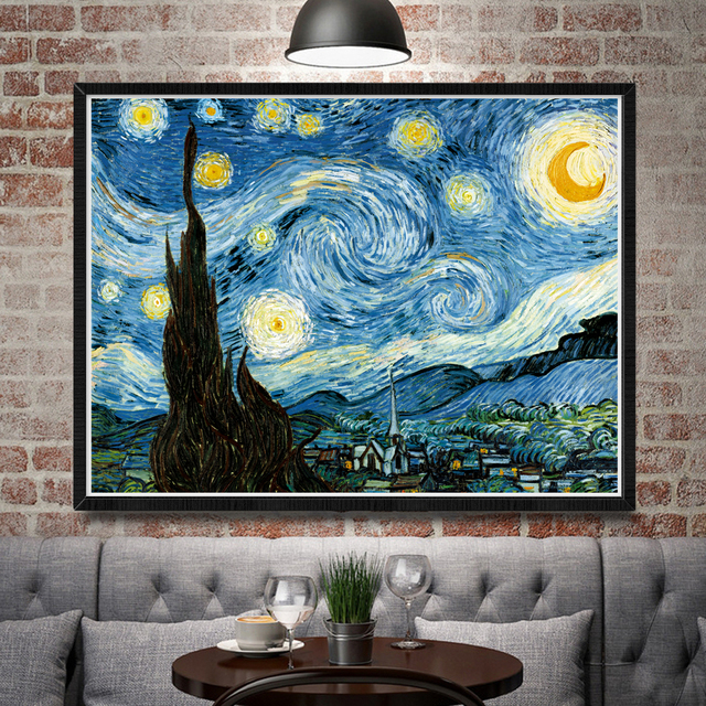 Vincent Van Gogh Starry Night Classy Art Silk Poster Home Oil Painting 12×16 18×24 24×32 30×40 Inch No Frame
