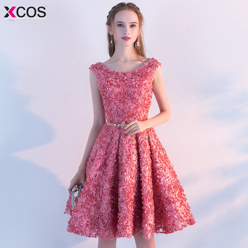Short Pink Homecoming Dresses 2019 Knee Length Open Back Flower Lace Homecoming Gowns Graduation vestido tule