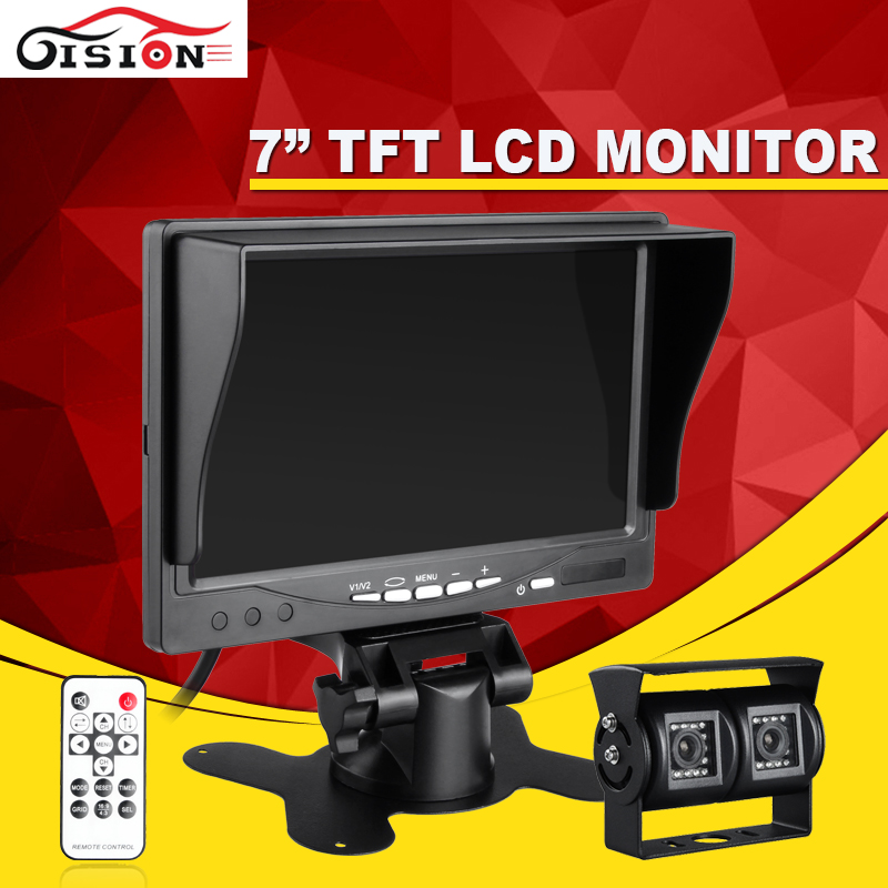 Night Vision 600TVL 3.6mm CCD Car Rearview Parking  Dual Camera With 7Inch TFT LCD Monitor For Reversing Backup Car Monitor Kits hot sale dvr car covers 7 car lcd tv dvd screen ccd 170 degree ear view night vision park monitor camera kits diagnostic tool