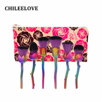 CHILEELOVE 6 Pcs Rose Shape Makeup Brush Pro Cosmetic Tool With Cosmetic Bag For Women Girl
