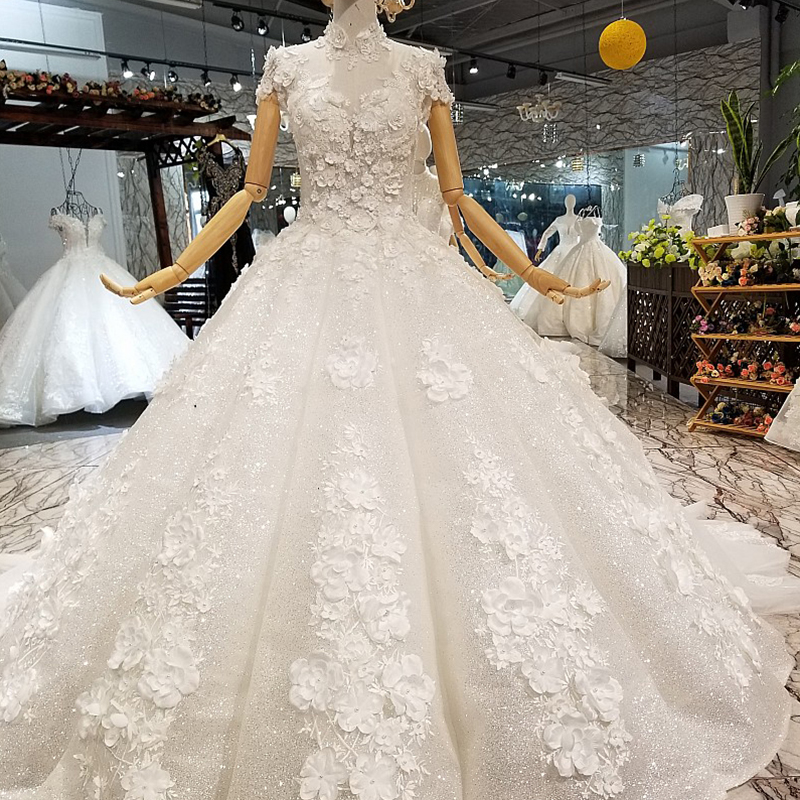 64f5cbfc08b78 Detail Feedback Questions about LS850321 shiny ball gown wedding dress  petal flowers high neck short sleeves elegant wedding gown fast shipping  free ...