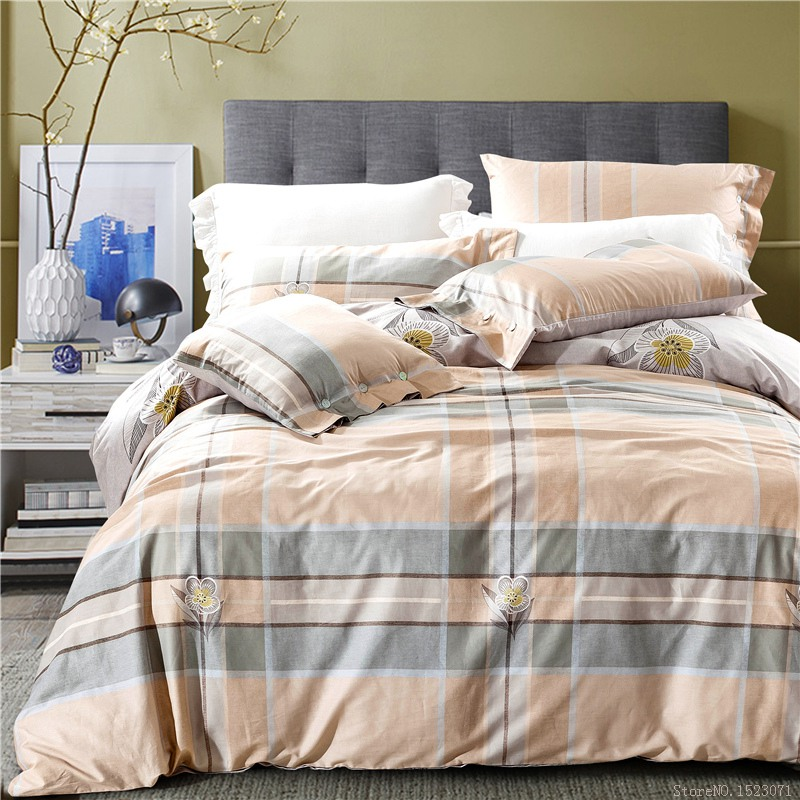 100 cotton striped and plaid floral bedding duvet cover funda nordica bed linen girls bed