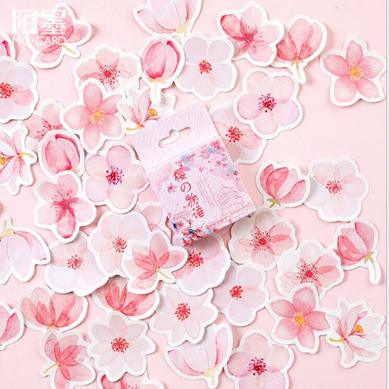 45 Pieces/Box Pink Sakura Story Mini Paper Sticker Diary Decoration Diy Scrapbooking Diary Sealing Sticker Office Label