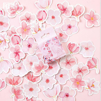45 Pieces/Box Pink Sakura Story Mini Paper Sticker Diary Decoration Diy Scrapbooking Diary Sealing Sticker Office Label 20packs lot forest animal festival mini paper sticker decoration diy ablum diary scrapbooking label sticker 45 pieces into